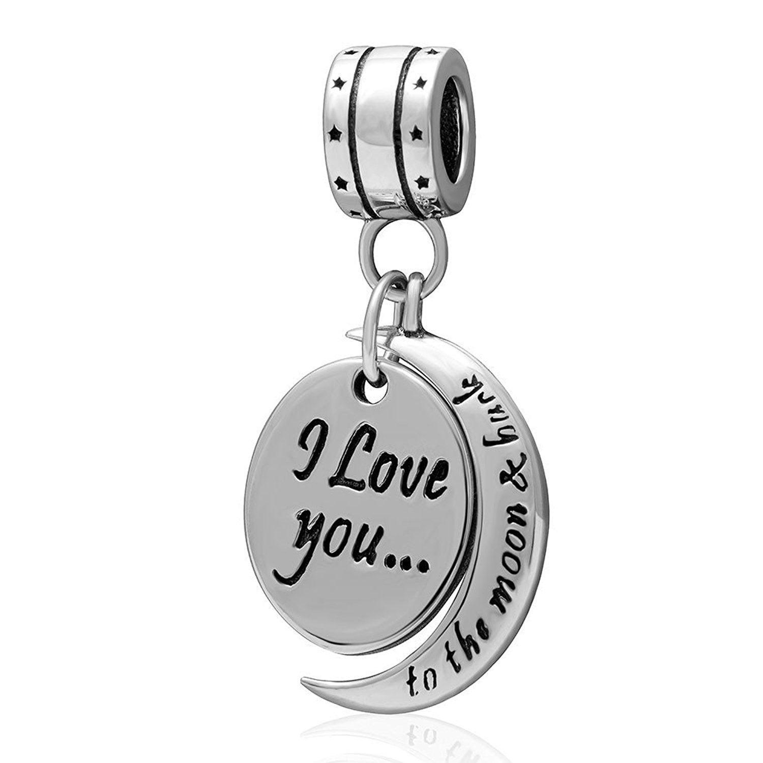 "Charm 925 - Dangle Script ""I Love You to the Moon"""
