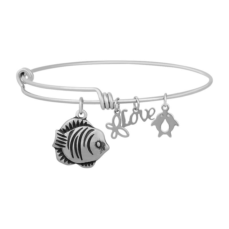 Stainless Expandable Wire Bangle 60mm - Fish Charm