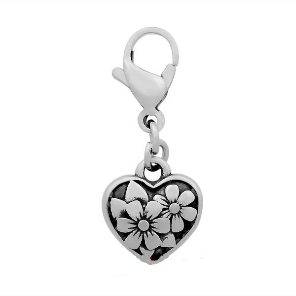 A&A Add A Charms Stainless - Heart & Flowers with Lobster Clasp