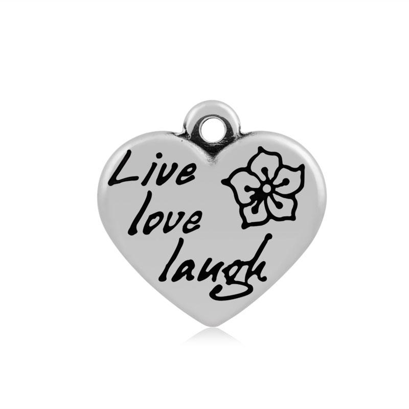 A&A Stainless Steel Charm - Live, Love & Laugh