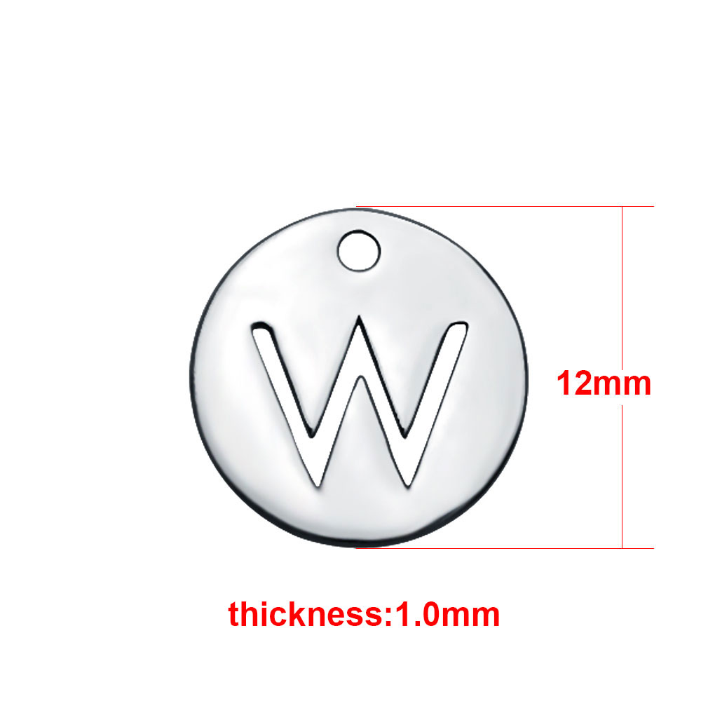 "Small 12mm Stainless Steel Alphabet Charm - ""W"