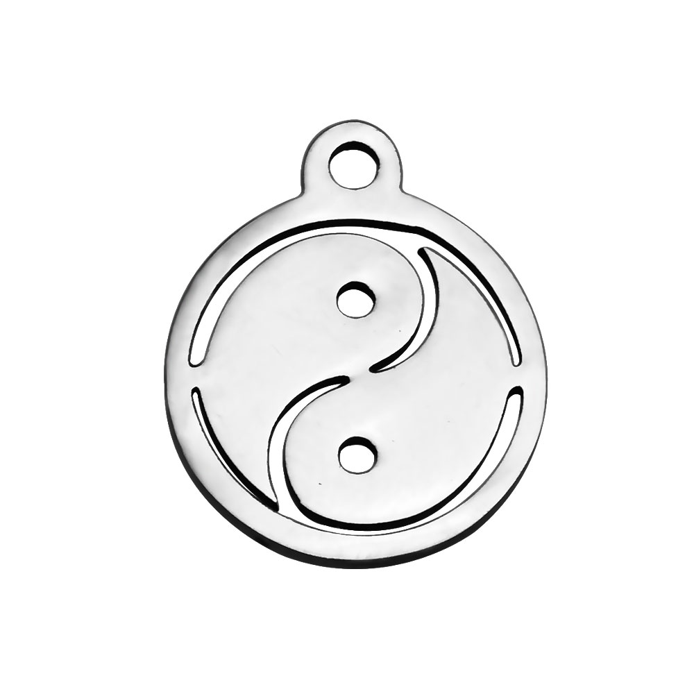 14*12mm Small Stainless Steel Charm - Ying & Yang