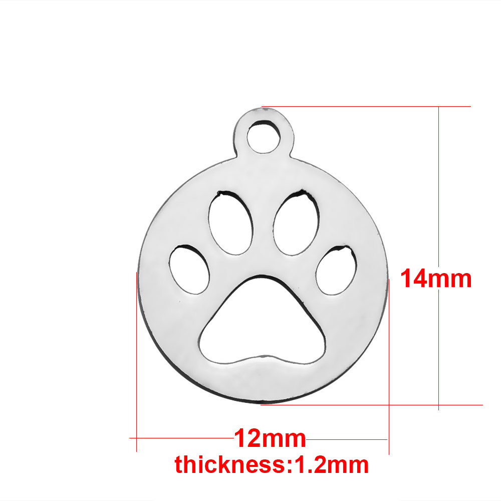 14*12mm Small Stainless Steel Charm - Paw