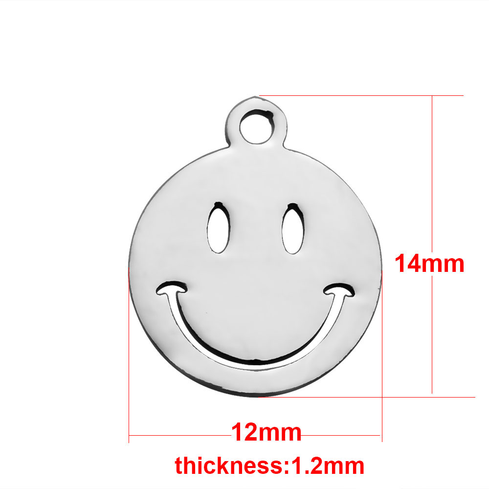 12*14mm Small Stainless Steel Charm - Big Smile Emoji