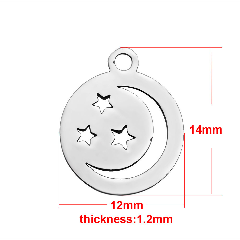 12*14mm Small Stainless Steel Charm - Moon & Stars