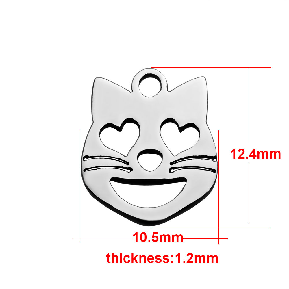 10*12mm Small Stainless Steel Charm - Cat Face