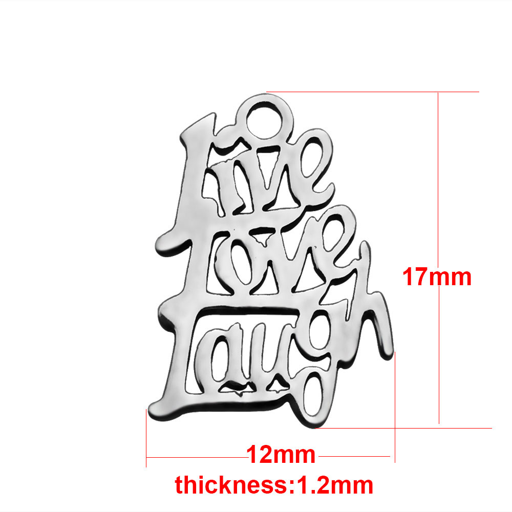 "12*17mm Small Stainless Steel Charm - ""Live Love Laugh"""