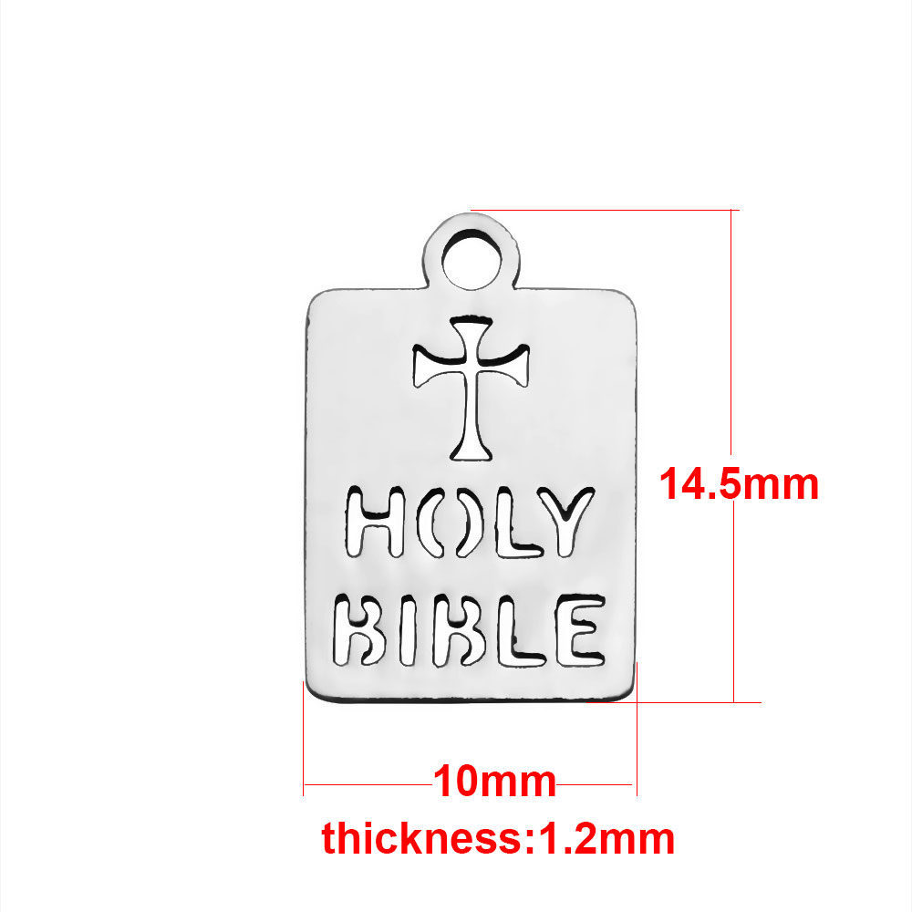 "10*14.5mm Small Stainless Steel Charm - ""Holy Bible"""