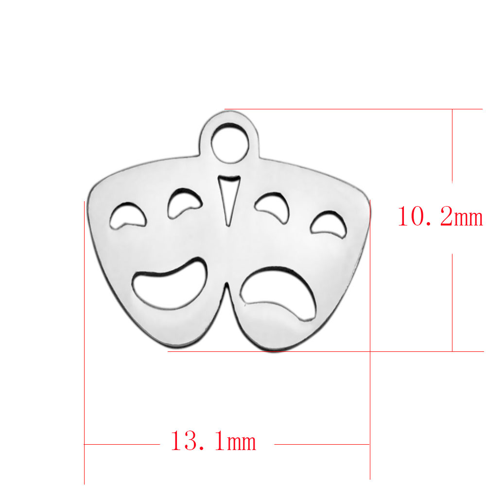 10.2*13.1mm Small Stainless Steel Charm - Theater Mask