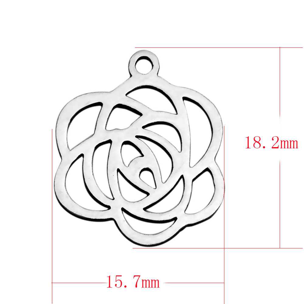 15.7*18.2mm Small Stainless Steel Charm - Rose