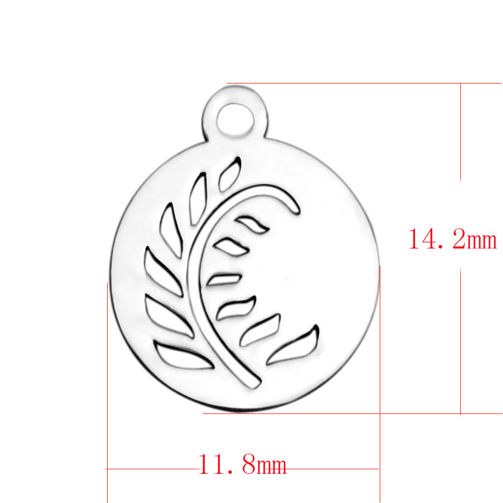 11.8*14.2mm Small Stainless Steel Charm - Feather