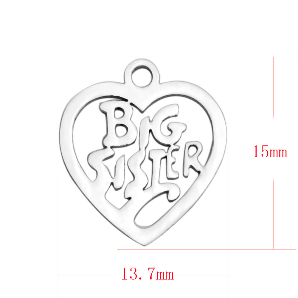 13.7*15mm Small Stainless Steel Charm - Big Sister
