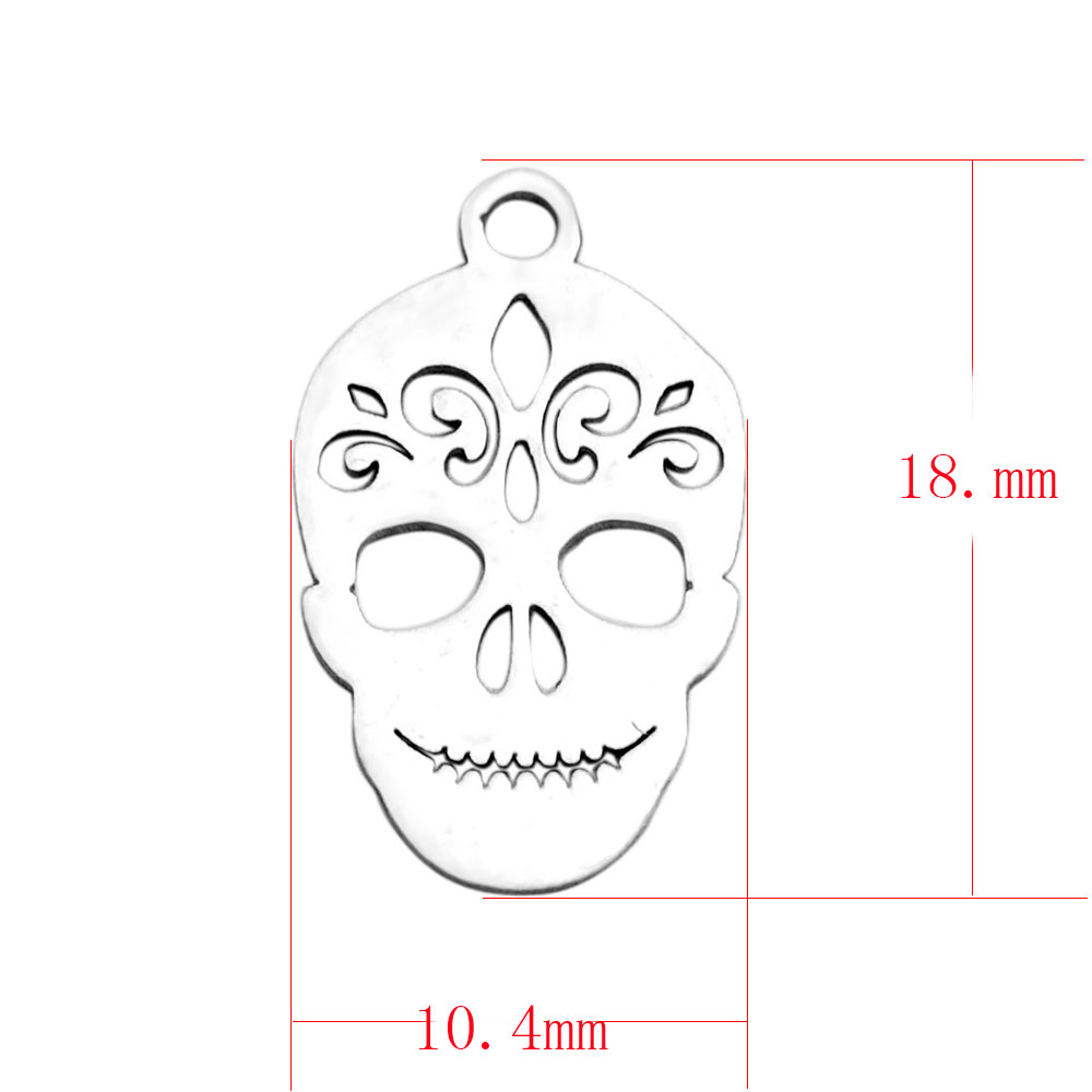 10.4*18mm Small Stainless Steel Charm - Skull