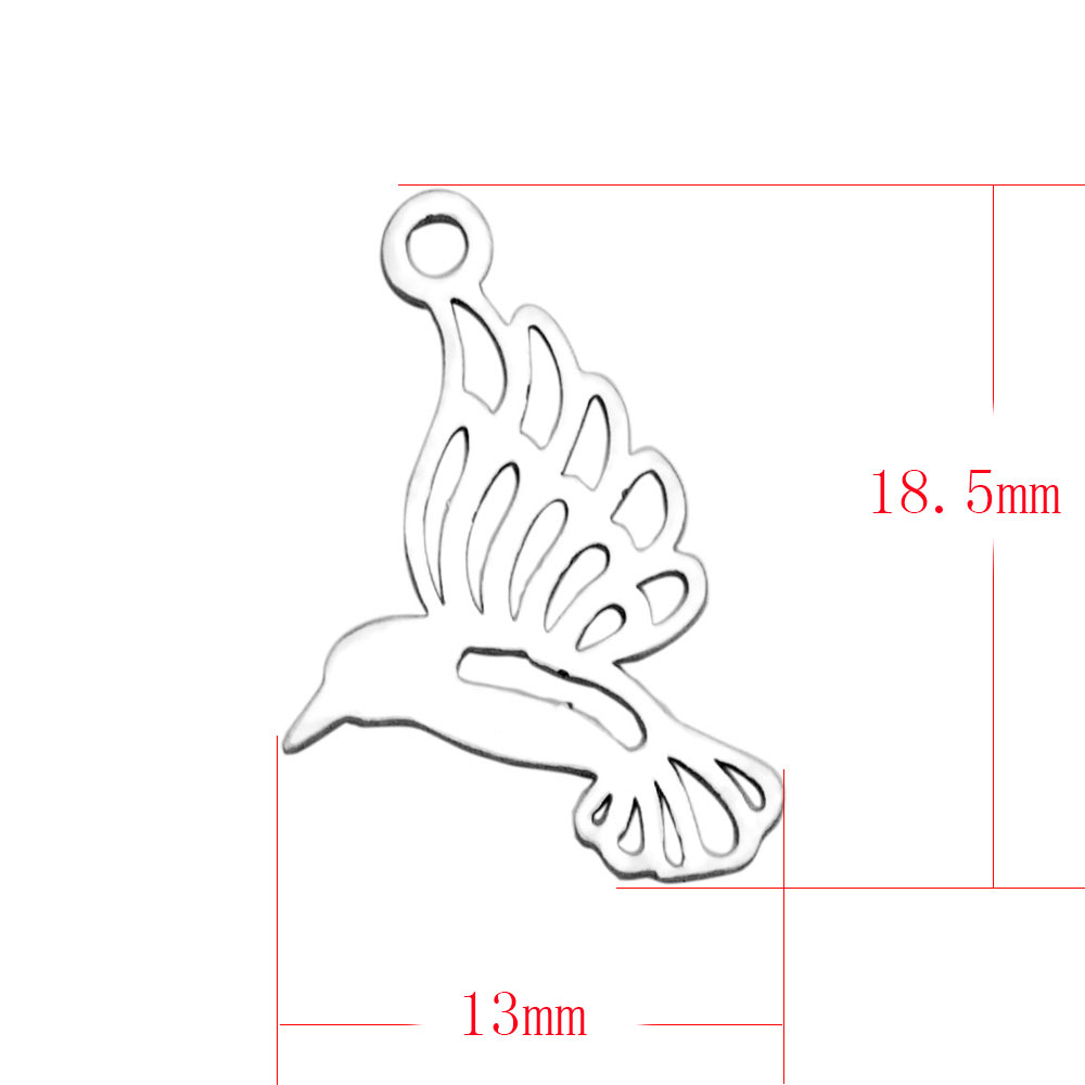 18.5*13mm Small Stainless Steel Charm - Dove