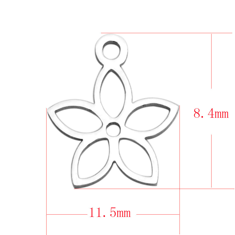 8.4*11.5mm Small Stainless Steel Charm - Flower