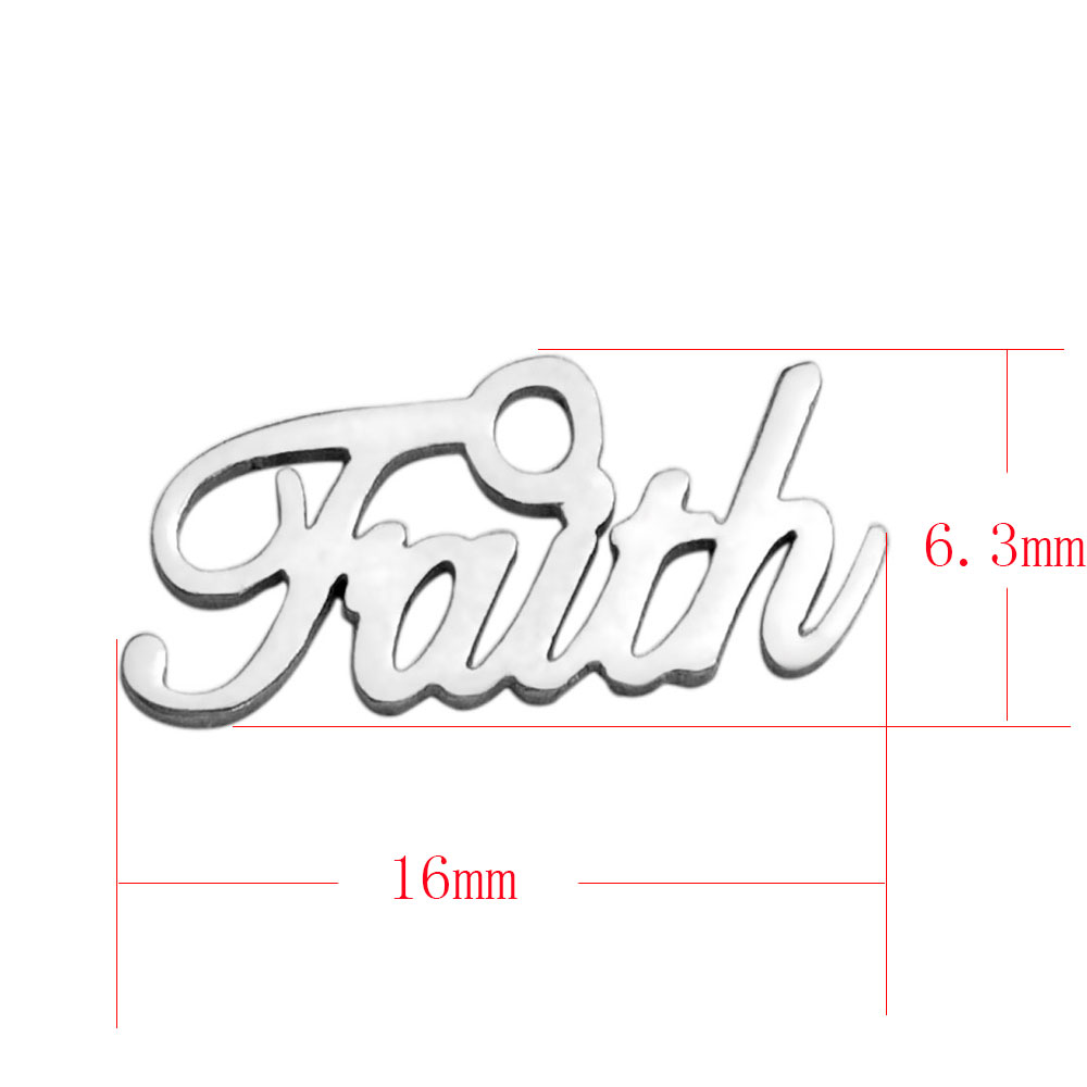 6.3*16mm Small Stainless Steel Charm - Faith Script