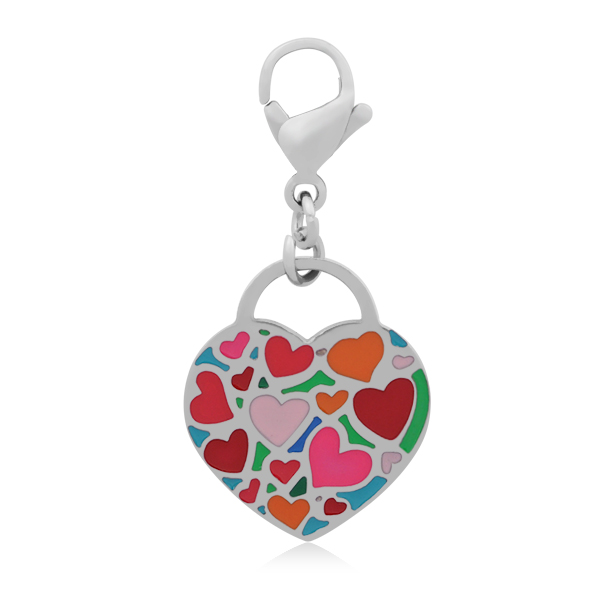 A&A Add A Charms Stainless - Multi Enamel Hearts w Lobster Clasp