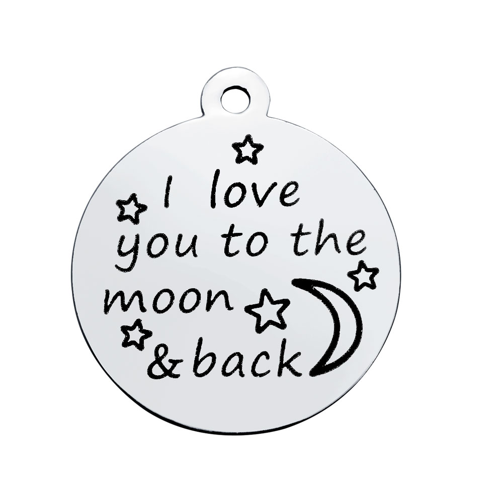 20*23.2mm Medium Stainless Steel Charm- I Love You To The Moon