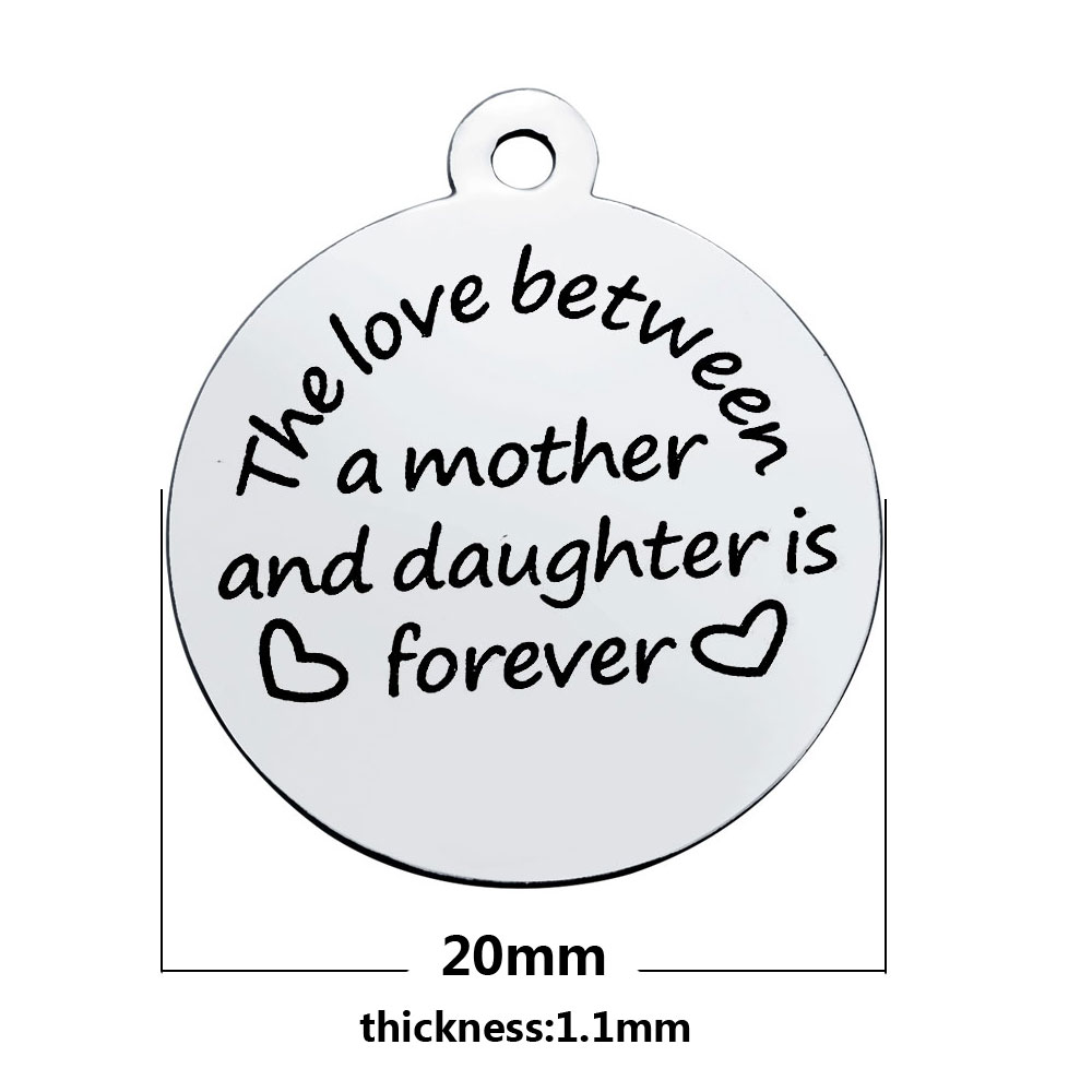 20*23.2mm Medium Stainless Steel Charm- Love/Mother & Daughter