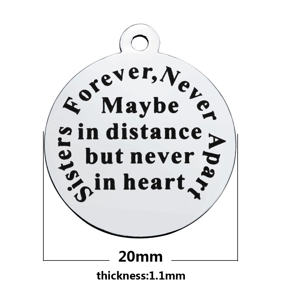 20*23.2mm Medium Stainless Steel Charm - Sister Forever...