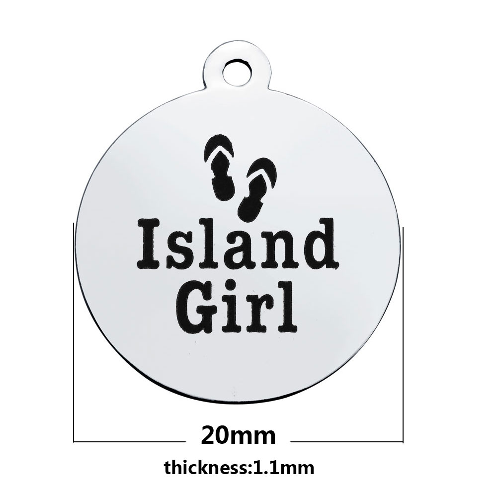 20*23.2mm Medium Stainless Steel Charm - Island Girl