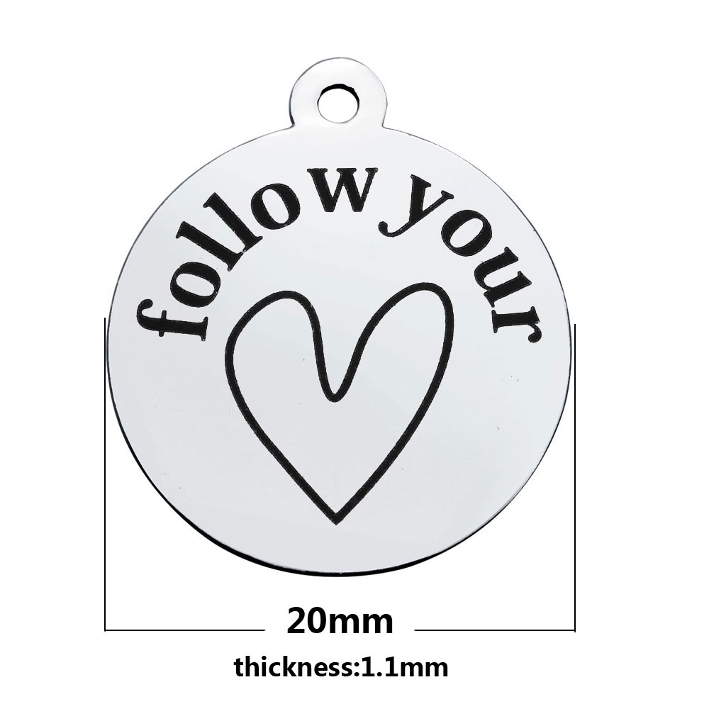 20*23.2mm Medium Stainless Steel Charm - Follow Your Heart