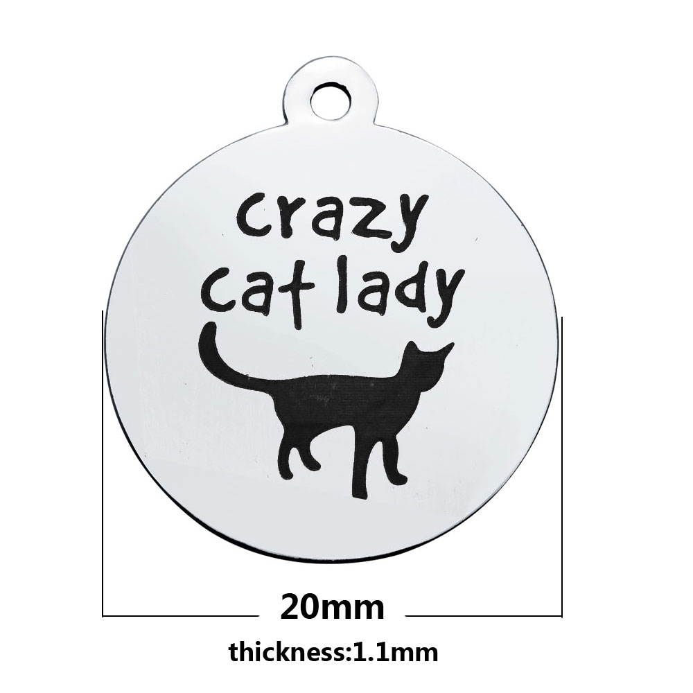 20*23.2mm Medium Stainless Steel Charm - Crazy Cat Lady