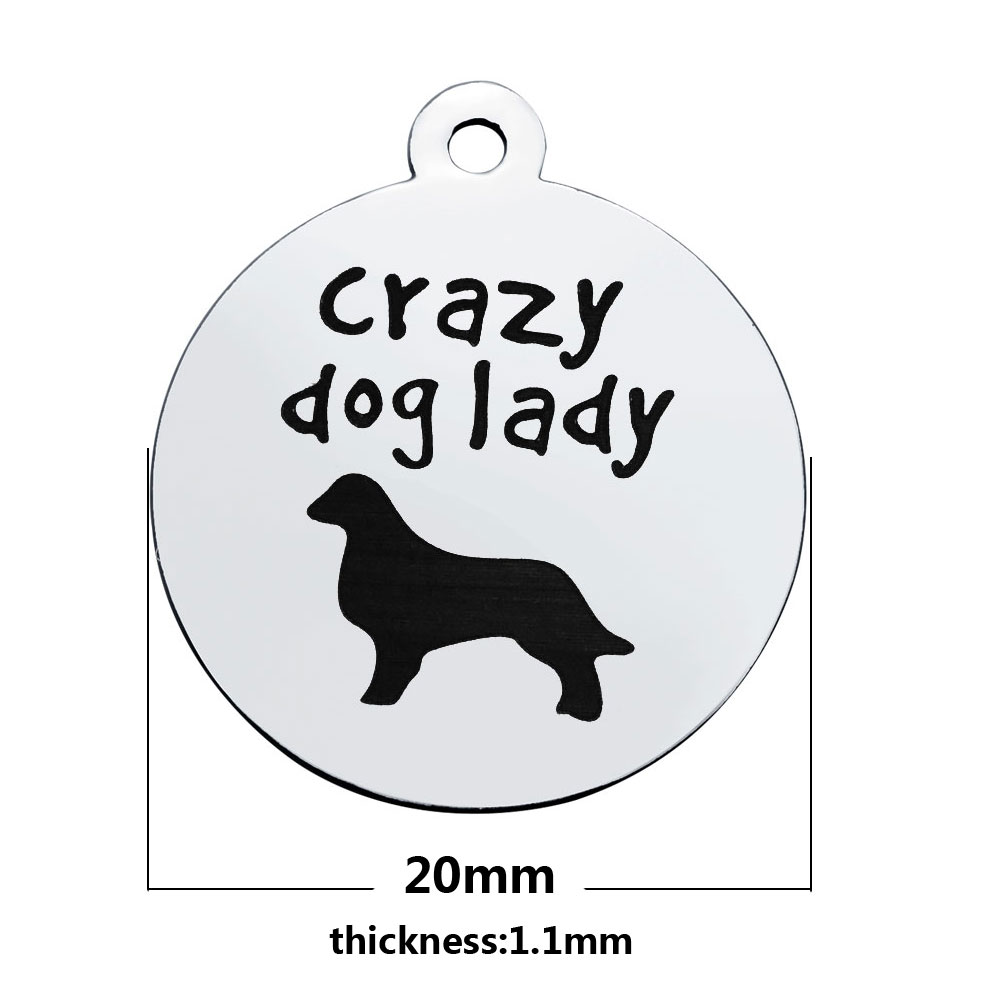 20*23.2mm Medium Stainless Steel Charm - Crazy Dog Lady