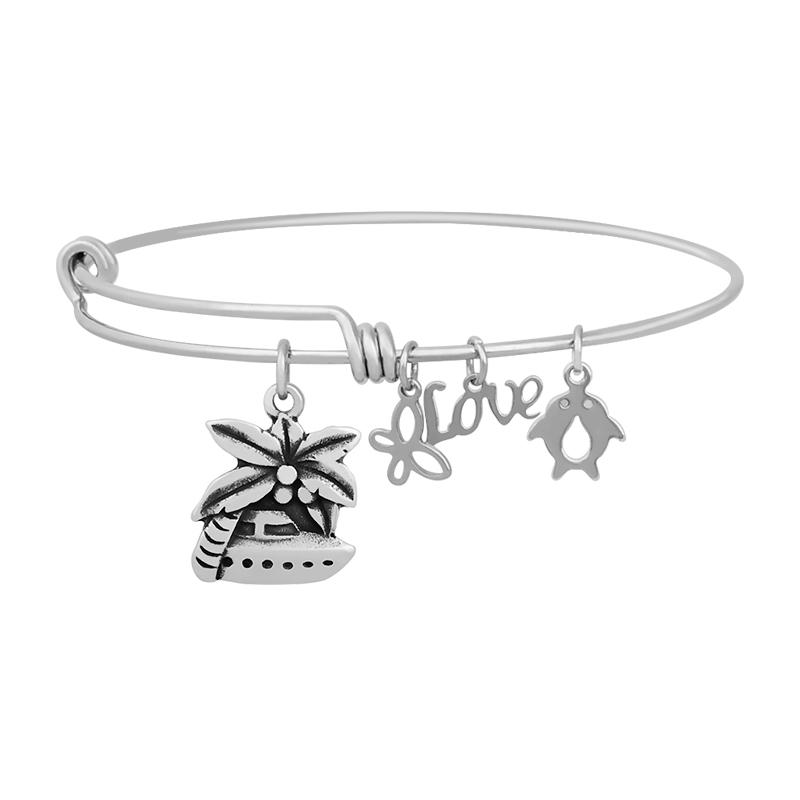 Stainless Expandable Wire Bangle 60mm - Palm Tree Cruise Charm