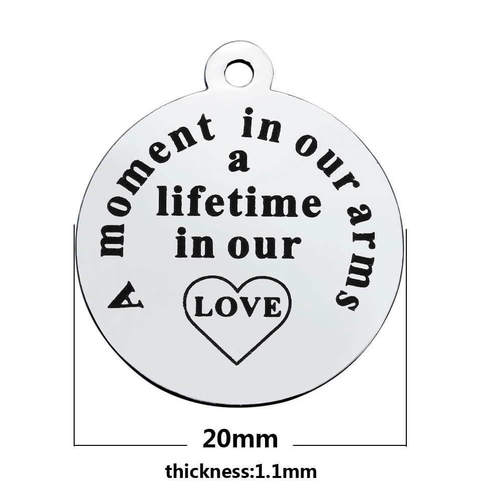 20*23.2mm Medium Stainless Steel Charm - A Moment In Our Arms