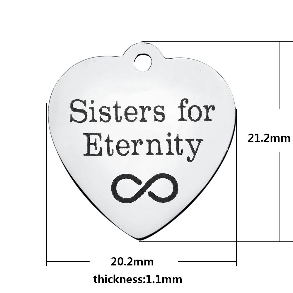 20.2*21.2mm Medium Stainless Steel Charm - Sisters for Eternity