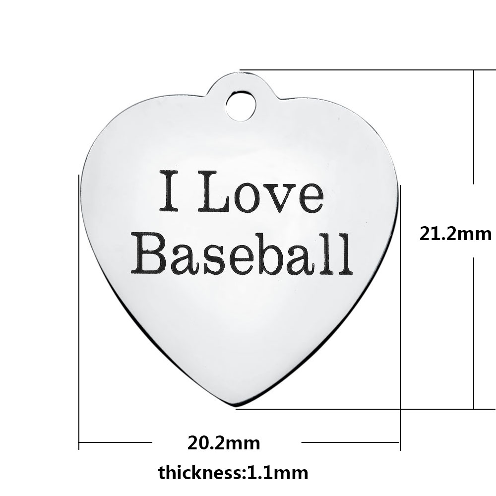 20.2*21.2mm Medium Stainless Steel Charm - I Love Baseball