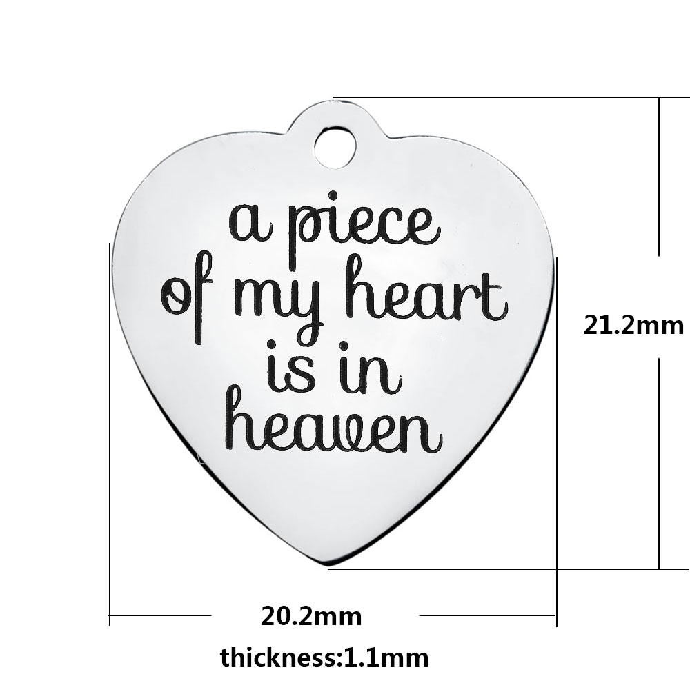 20.2*21.2mm Medium Stainless Steel Charm - A Piece of My Heart