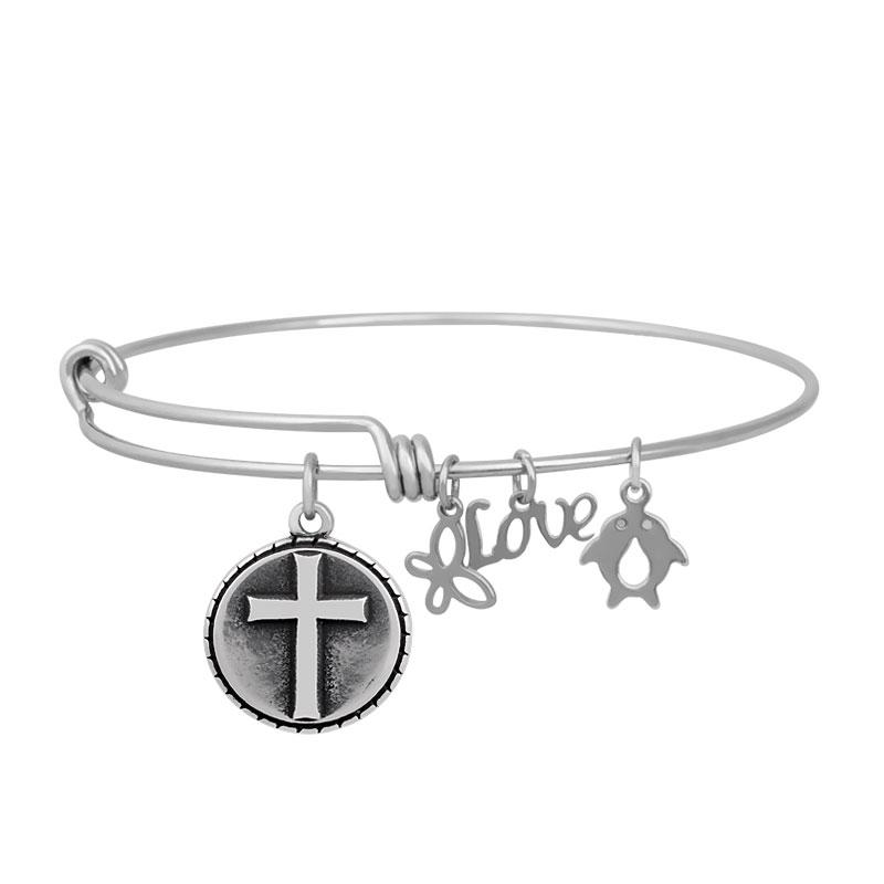 A&A Stainless Bracelet - Cross Round Charm 65mm