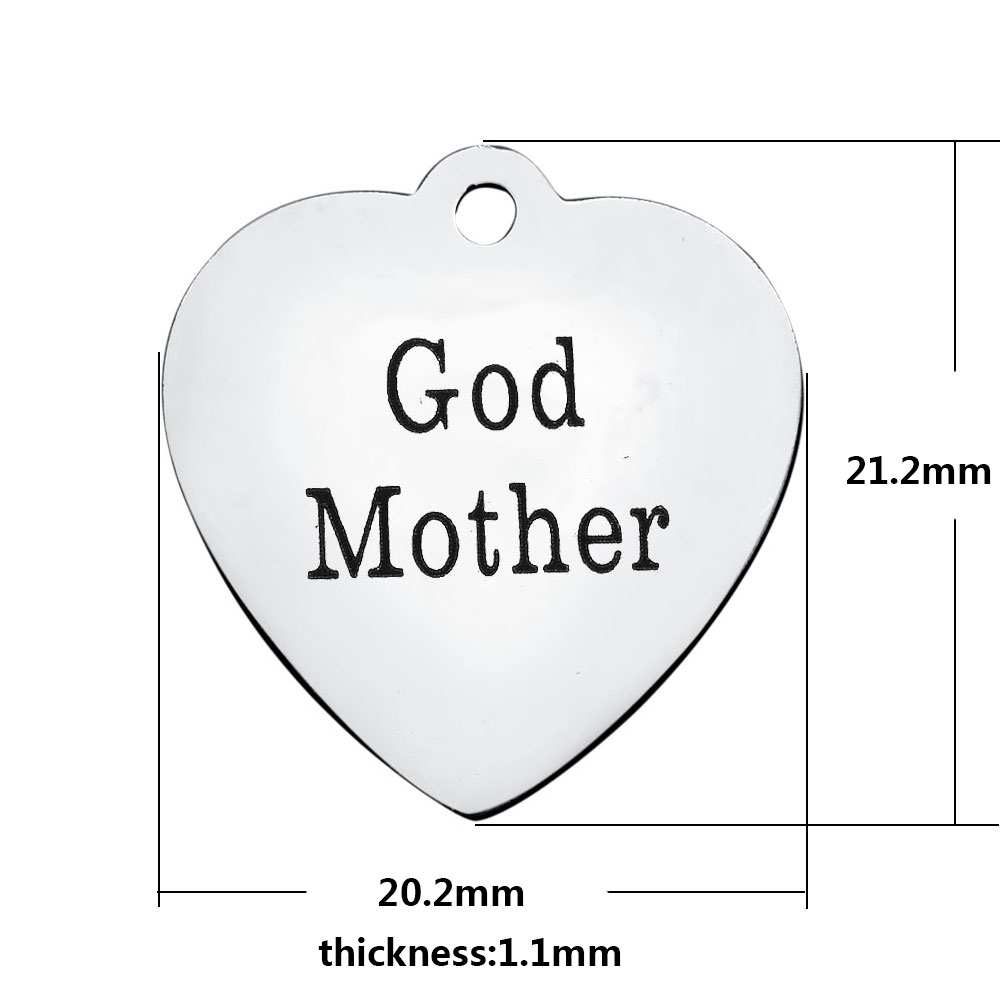 20.2*21.2mm Medium Stainless Steel Charm - God Mother