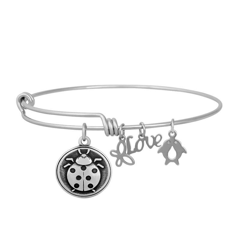 Stainless Expandable Wire Bangle 60mm - Lady Bug Charm