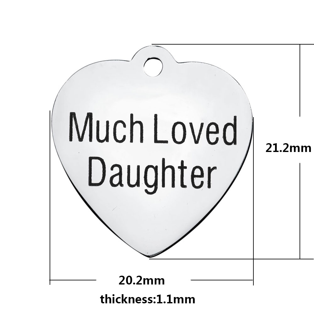 20.2*21.2mm Medium Stainless Steel Charm - Much Loved Daughter