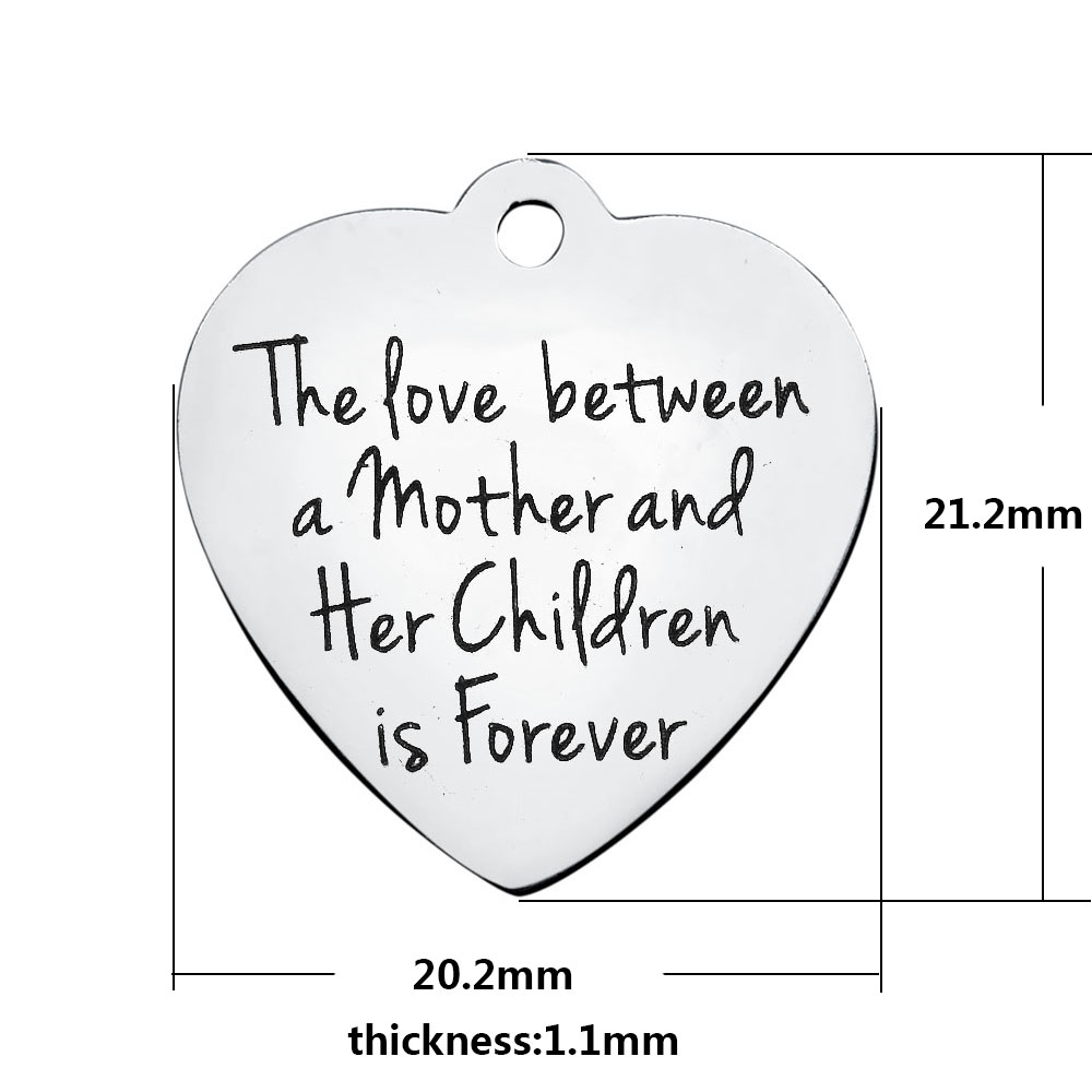 20.2*21.2mm Medium Stainless Steel Charm - Love Mother/Children