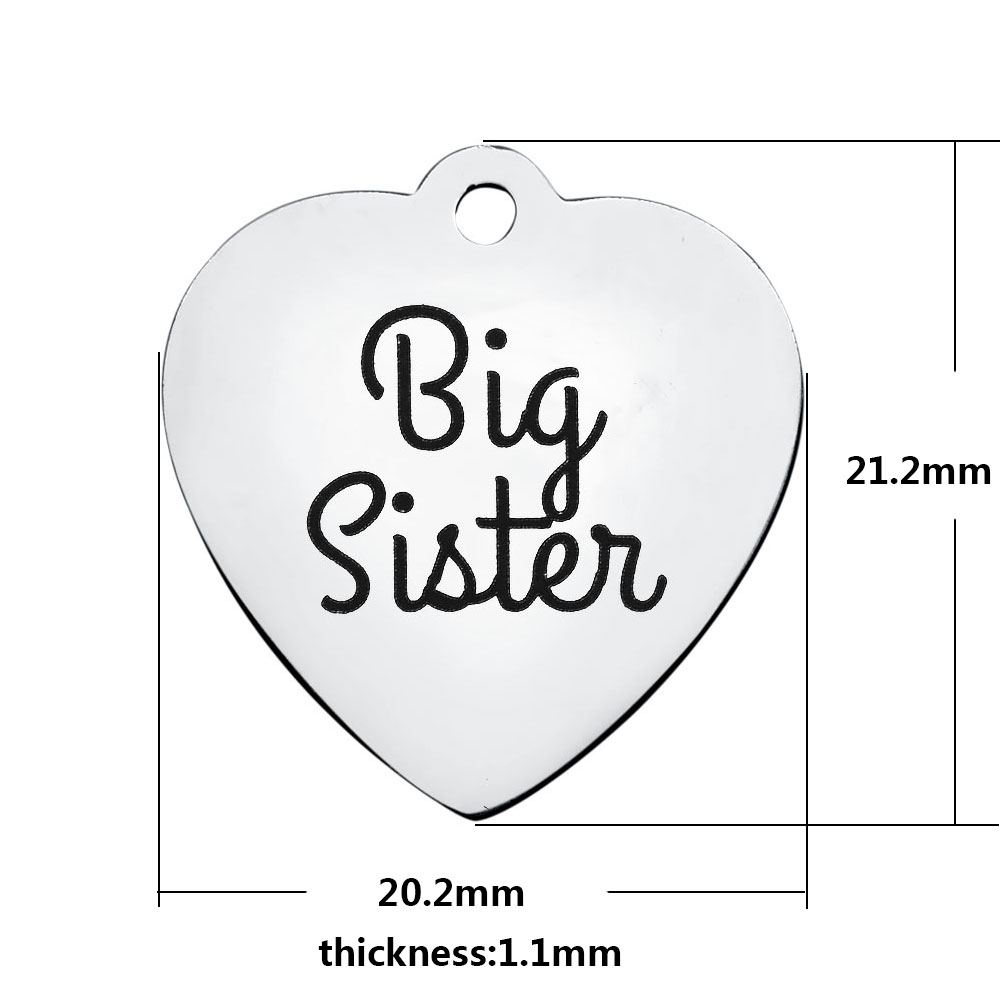 20.2*21.2mm Medium Stainless Steel Charm - Big Sister