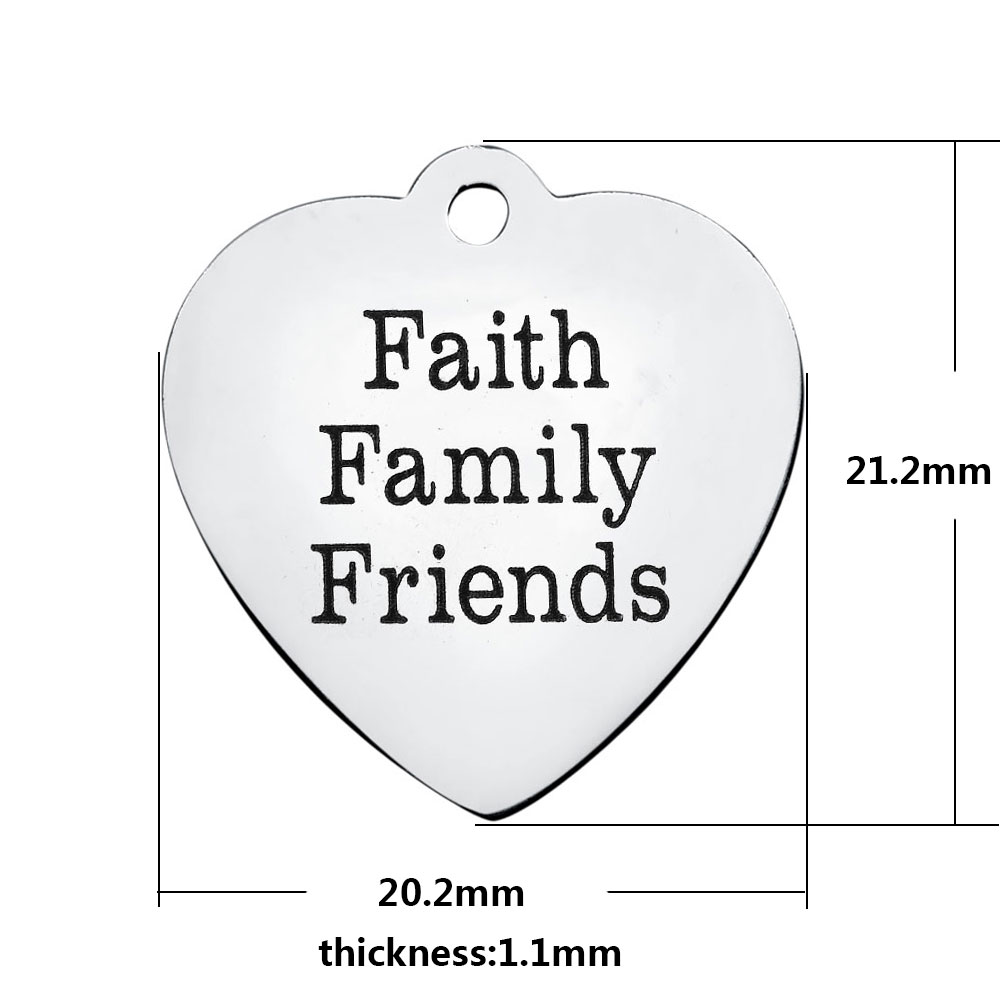 20.2*21.2mm Medium Stainless Steel Charm - Faith Family Friends