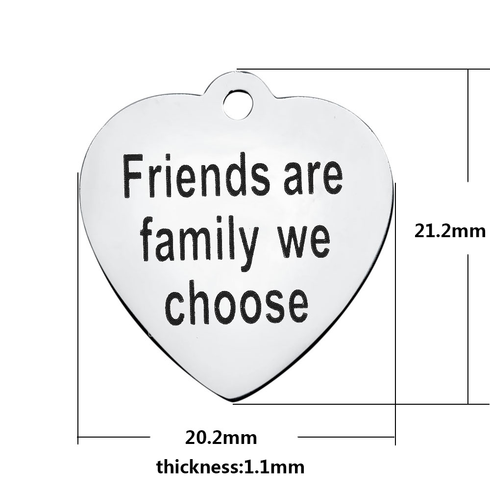 20.2*21.2mm Medium Stainless Steel Charm - Friends Are Family