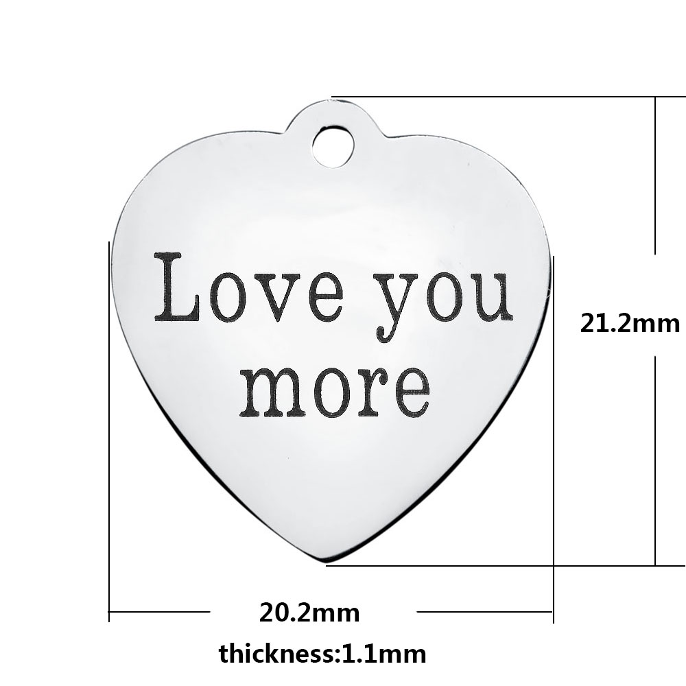20.2*21.2mm Medium Stainless Steel Charm - Love You More
