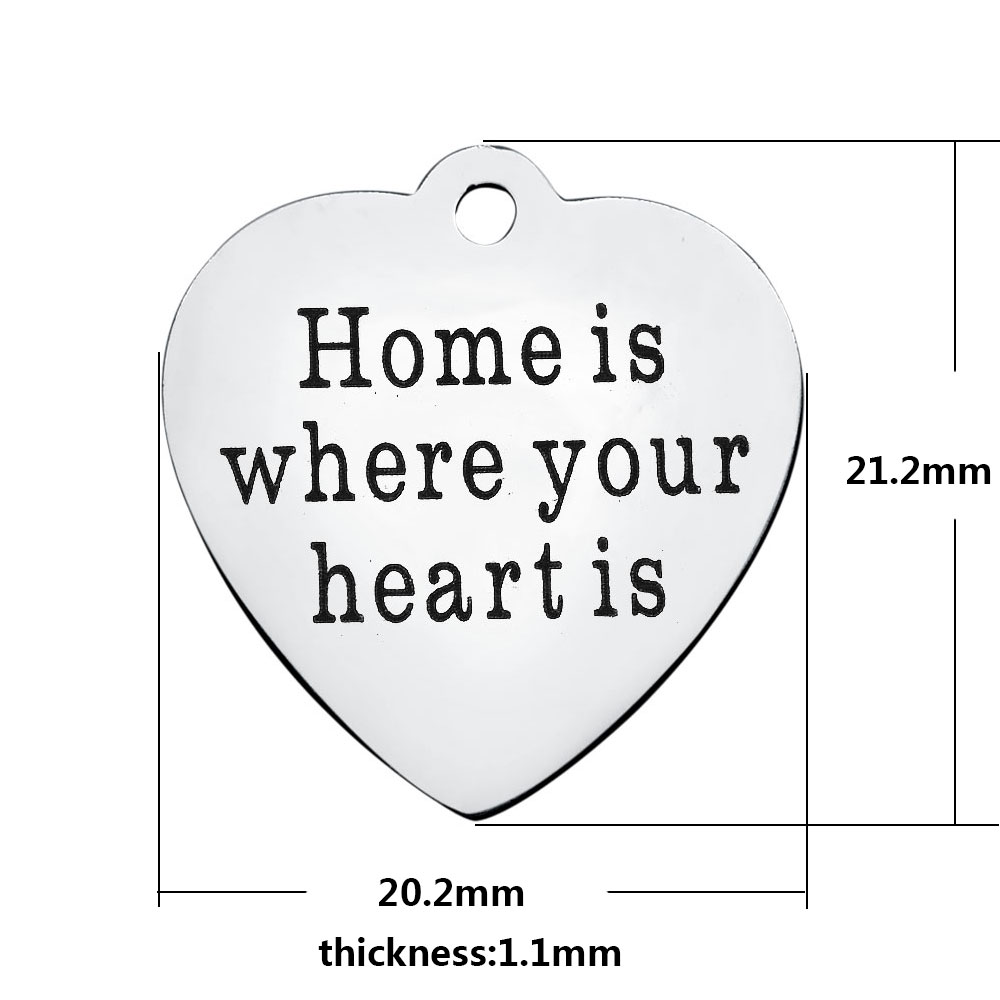 20.2*21.2mm Medium Stainless Steel Charm - Home Is...