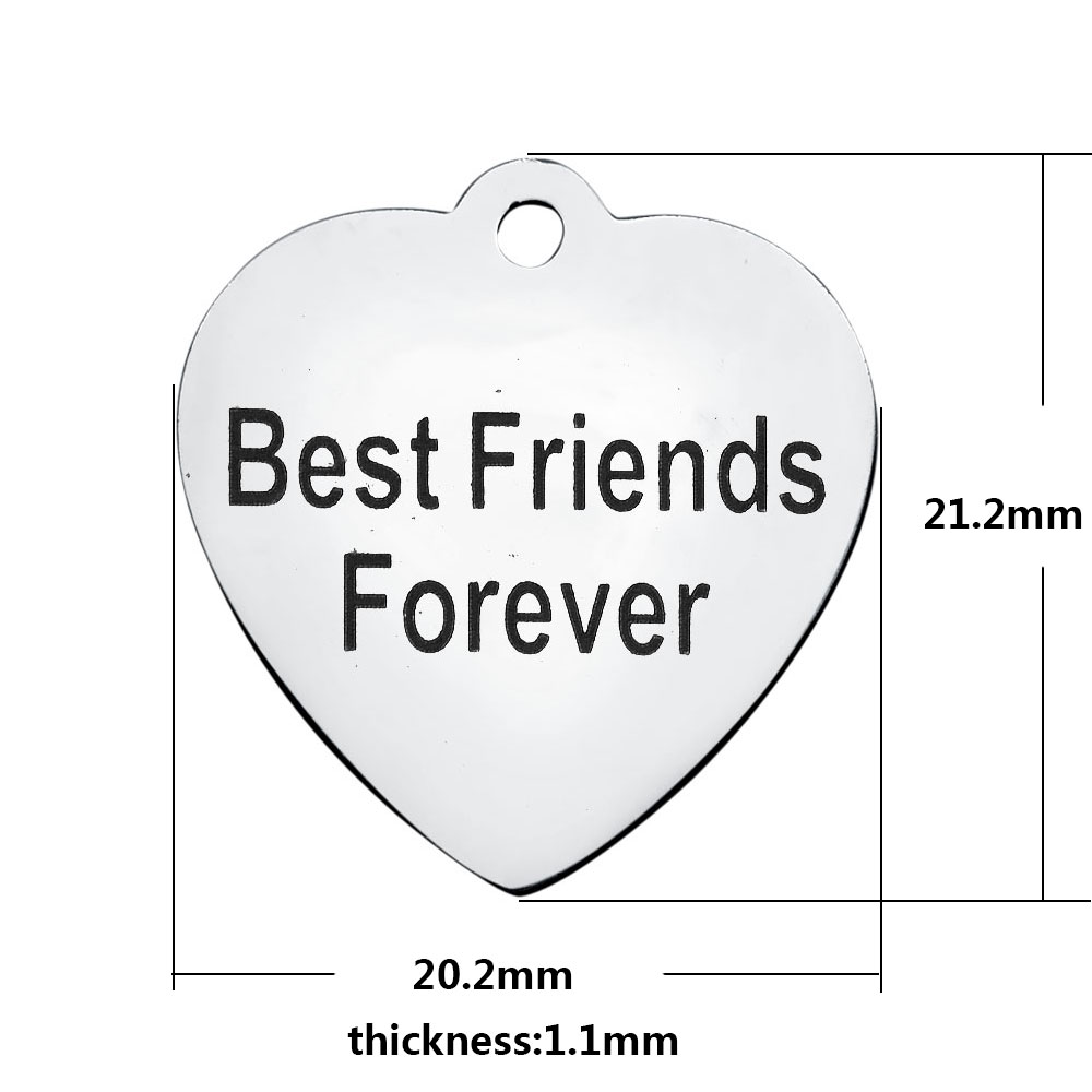 20.2*21.2mm Medium Stainless Steel Charm - Best Friends Forever