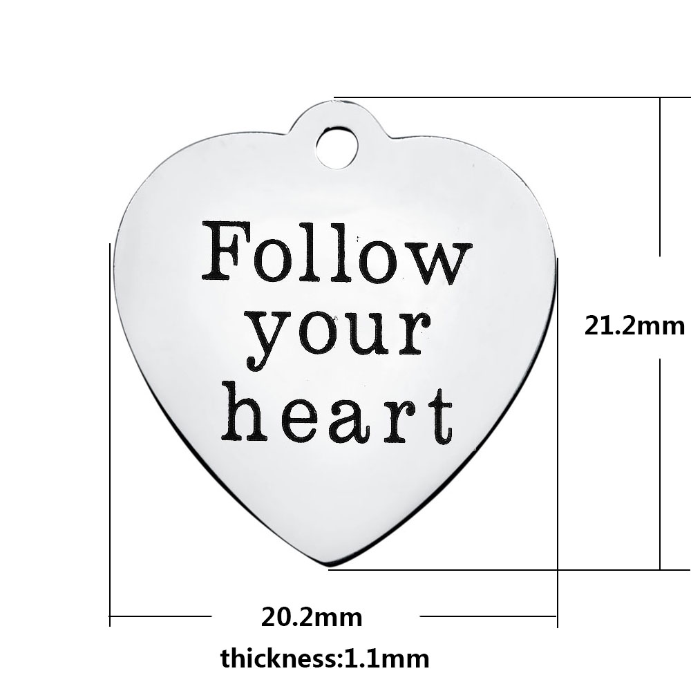 20.2*21.2mm Medium Stainless Steel Charm - Follow Your Heart