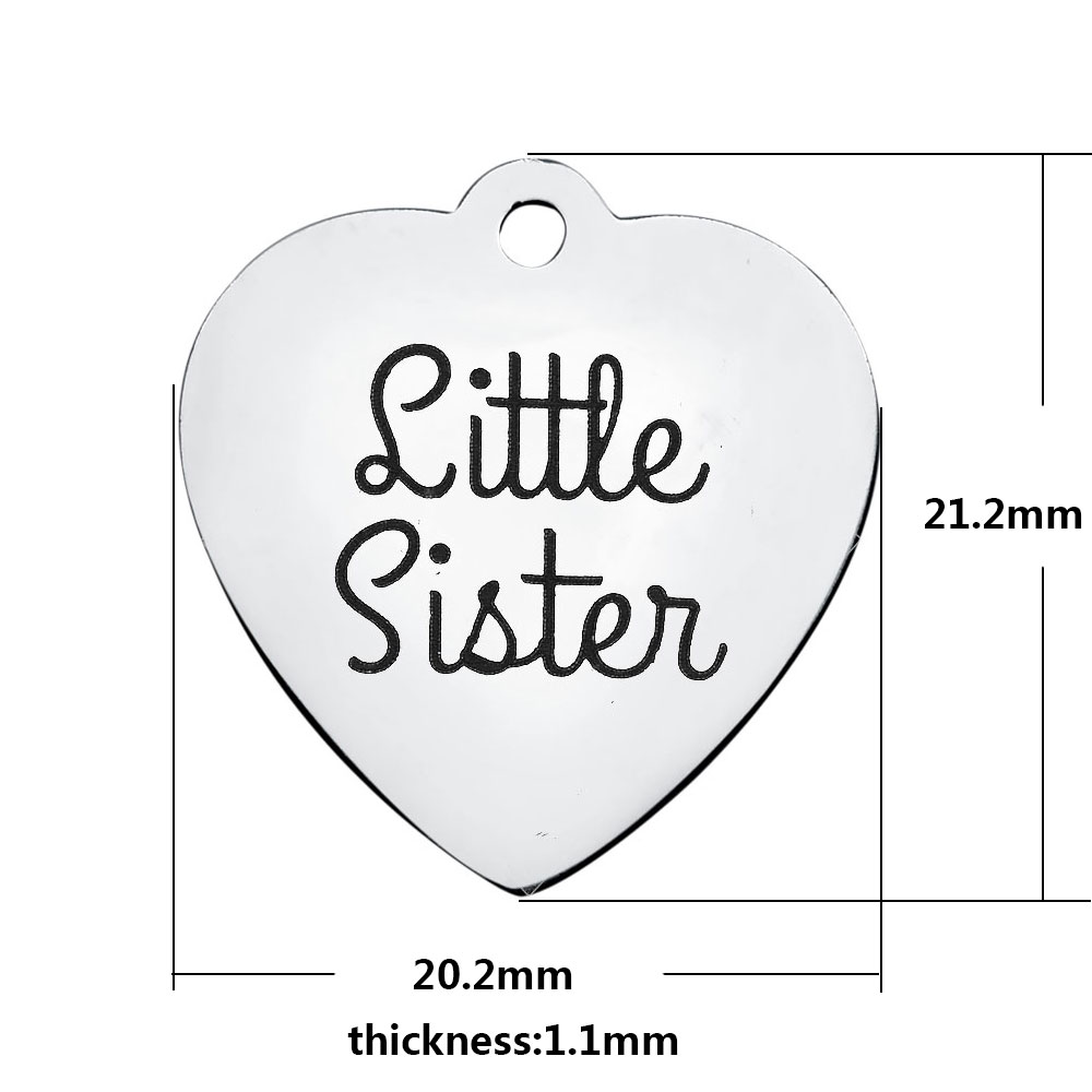 20.2*21.2mm Medium Stainless Steel Charm - Little Sister