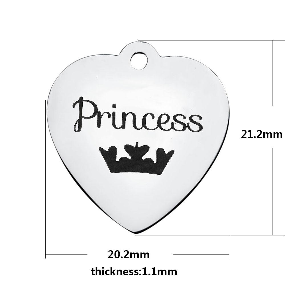 20.2*21.2mm Medium Stainless Steel Charm - Princess