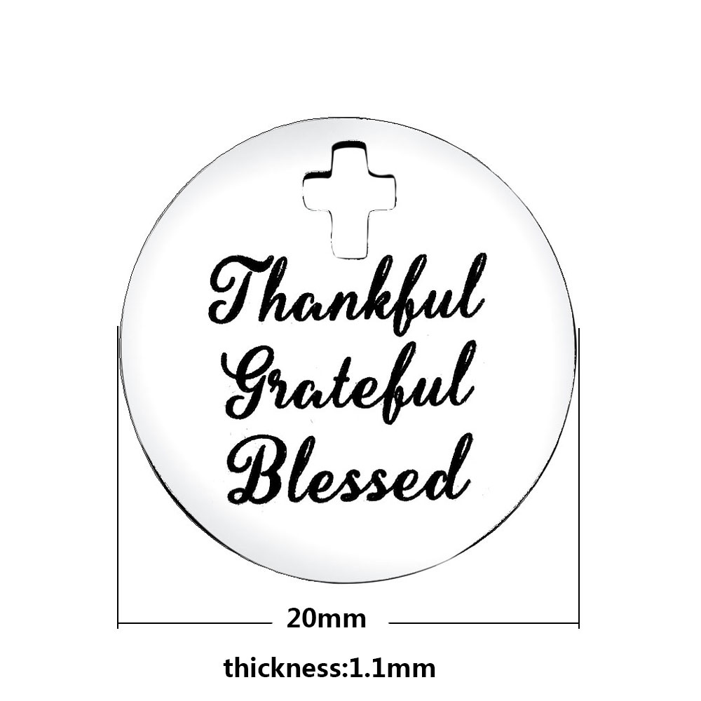 20mm Medium Stainless Steel Charm - Thankful Grateful...