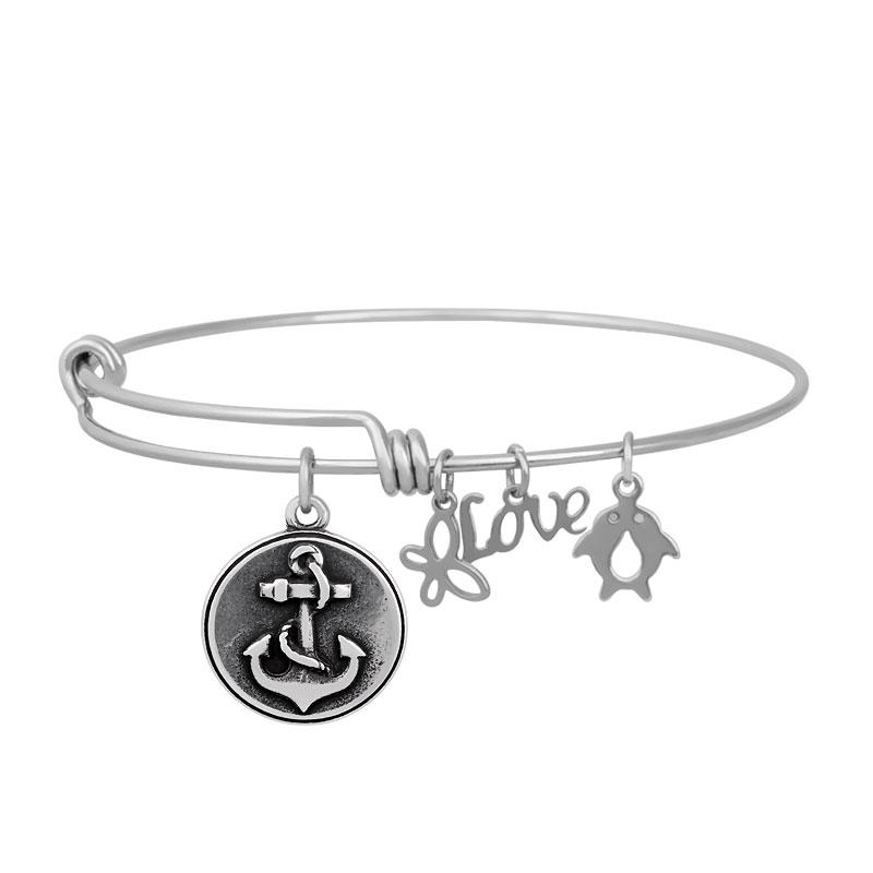 Stainless Expandable Wire Bangle 60mm - Anchor Round Charm