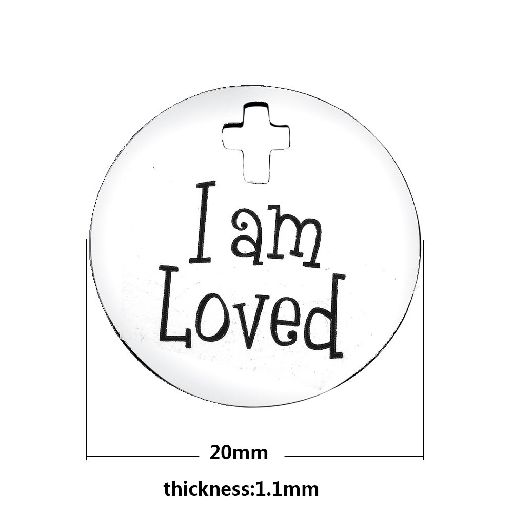 20mm Medium Stainless Steel Charm - I Am Loved
